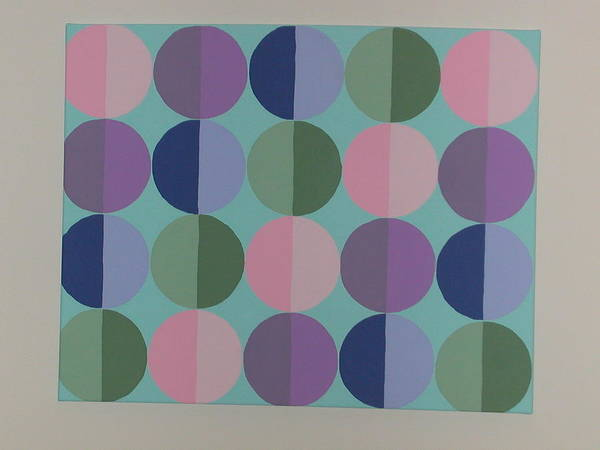 Blue Art Print featuring the painting Pastel Cirles by Gay Dallek