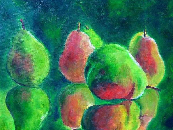 Pears Art Print featuring the painting Pear Paintings - Pear Moods by Virgilla Lammons