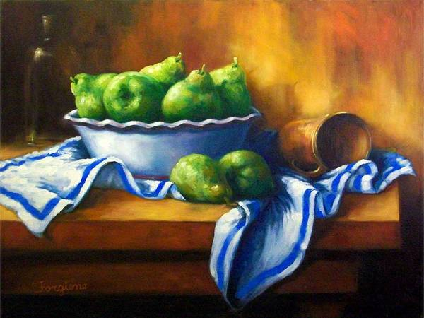 Pears Art Print featuring the painting Pears In A Bowl by Tom Forgione
