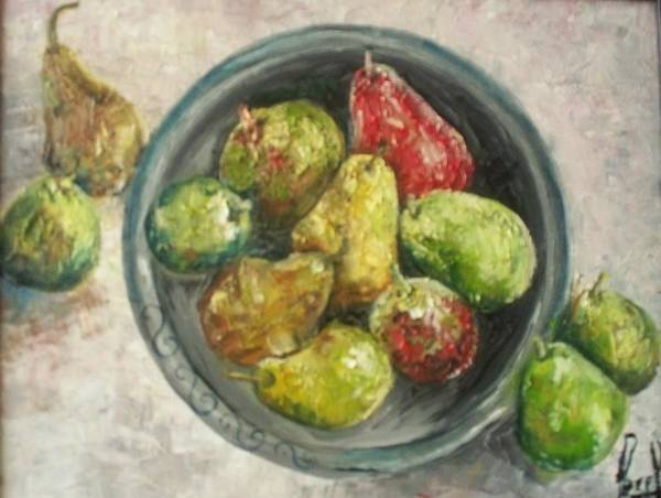 Art Print featuring the painting Pears In Bowl by Carol P Kingsley