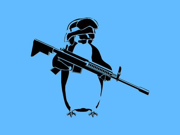Penguin Art Print featuring the digital art Penguin Soldier by Pixel Chimp