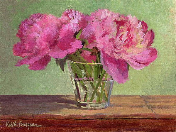 Still Art Print featuring the painting Peonies In Tumbler by Keith Burgess