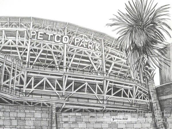 Petco Park Art Print featuring the drawing Petco Park by Juliana Dube