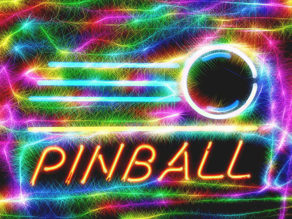 Pinball Neon Sign Art Print featuring the mixed media Pinball Neon Sign by Dan Sproul