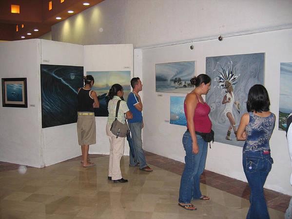 Plaza Pelicanos Exhibition Art Print featuring the photograph Plaza Pelicanos by Angel Ortiz