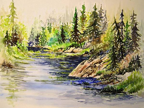Nutimik Lake Manitoba Landscape Art Print featuring the painting Plein Air At Nutimik Lake In Manitoba by Joanne Smoley