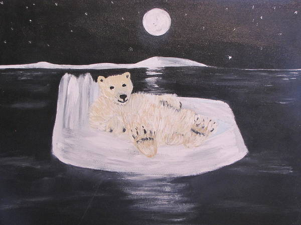Polar Art Print featuring the painting Polar Bear On Ice by Aleta Parks
