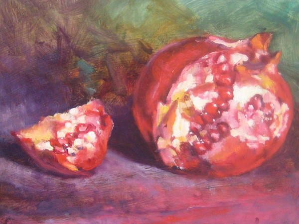 Still Life Art Print featuring the painting Pomegranate by Susan Jenkins