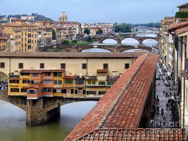 Ponte Art Print featuring the photograph Ponte Vecchio From Uffizi        by Jennie Breeze