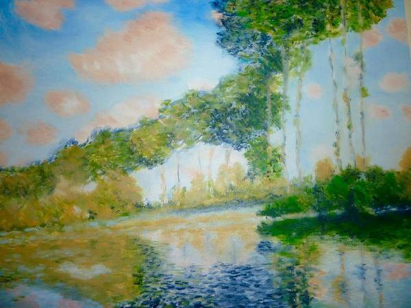 Poplars Art Print featuring the painting Poplars On The Epte Claude Monet by Rosemarie Perks