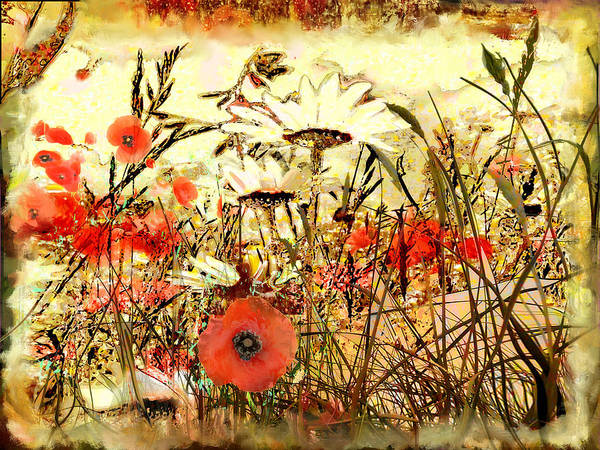 Papaver Art Print featuring the painting Poppies In Waving Corn by Anne Weirich