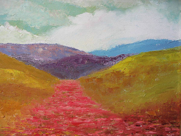 Landscape Art Print featuring the painting Poppy Field by Belinda Consten