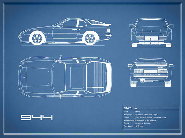 Porsche 944 Blueprint Art Print by Mark Rogan