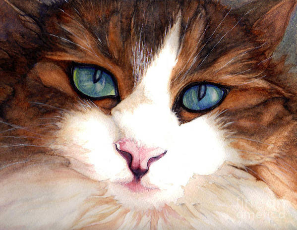 Portrait Of A Cat Art Print featuring the painting Portrait Of A Cat by Janine Riley