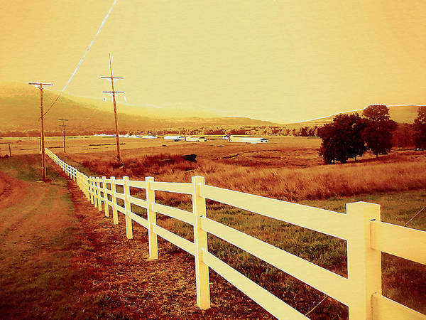 Power-line And Fence Art Print featuring the digital art Power Lines 1 by Jeelan Clark