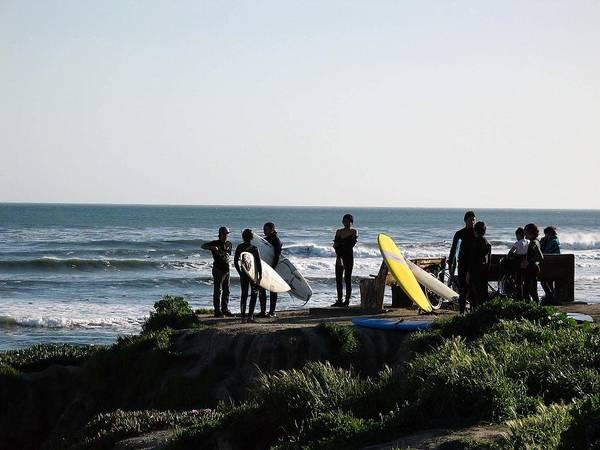 Landscape Art Print featuring the photograph pr 129 - Santa Cruz Surfers by Chris Berry