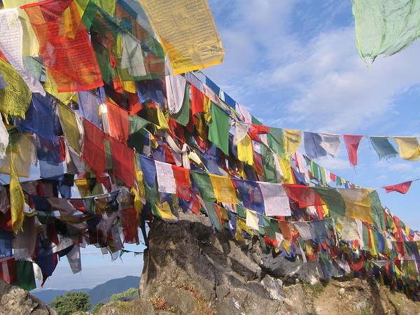 Prayer Flags Art Print featuring the photograph Prayer Flags In Happy Valley by Art Nomad Sandra Hansen