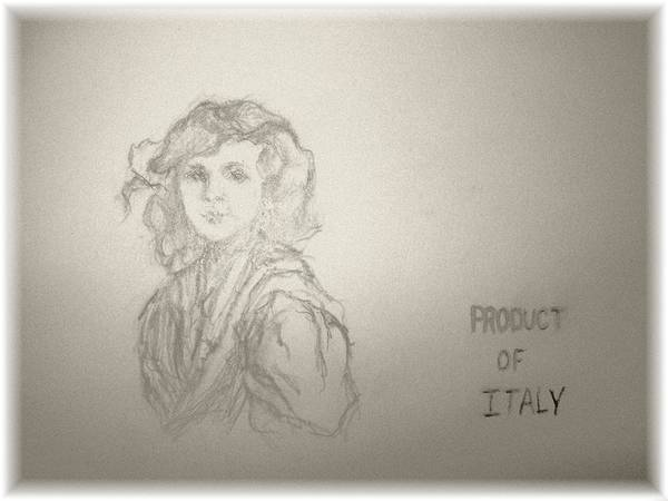 Italian Little Girl Art Print featuring the drawing Product Of Italy by Nancy Caccioppo