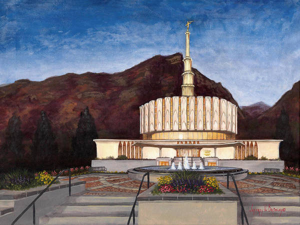 Temple Art Print featuring the painting Provo Temple by Jeff Brimley