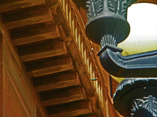 Abstract Art Print featuring the photograph Pueblo Downtown Thatcher Building With Lamps by Lenore Senior