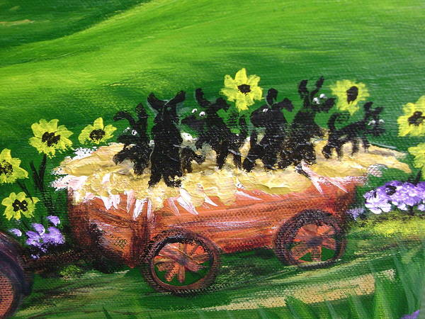Pups Art Print featuring the painting Pups First Hayride Upclose by Laura Johnson