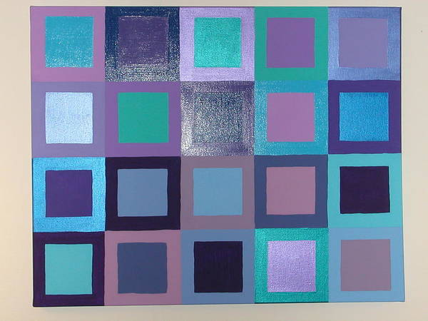 Squares Art Print featuring the painting Purple Haze by Gay Dallek