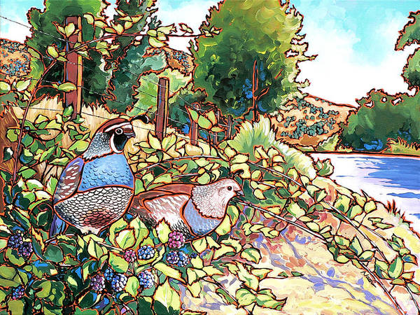 Quail Art Print featuring the painting Quails And Blackberries by Nadi Spencer