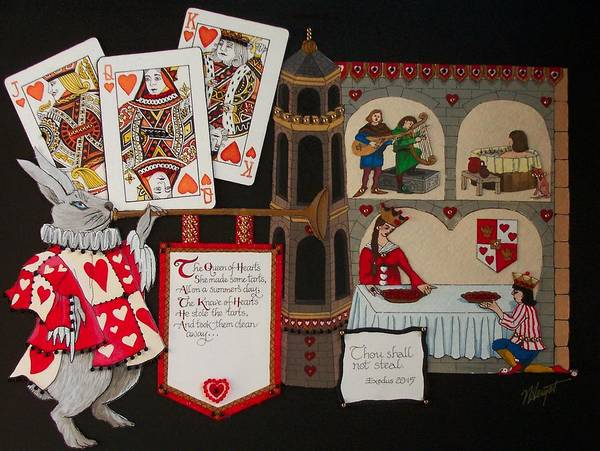Nursery Rhyme Art Print featuring the painting Queen Of Hearts by Victoria Heryet
