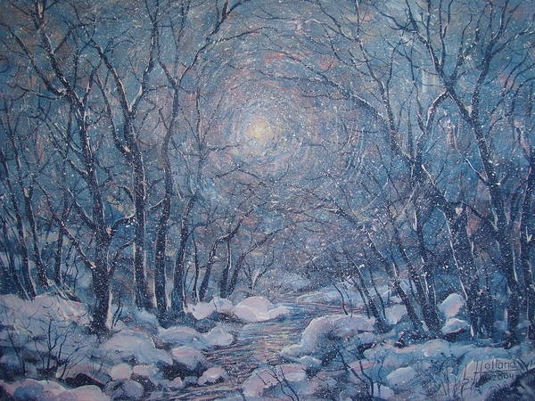 Snow Landscape Art Print featuring the painting Radiant Snow Scene by Leonard Holland