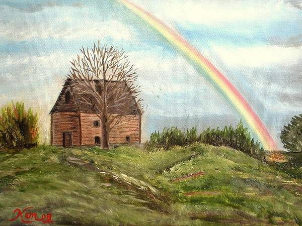 Barn Landscape Rainbow Art Print featuring the painting Rainbow by Kenneth LePoidevin