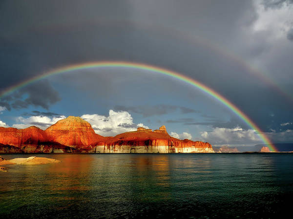 Buttes Art Print featuring the photograph Rainbow Over Lake Powell by Mountain Dreams