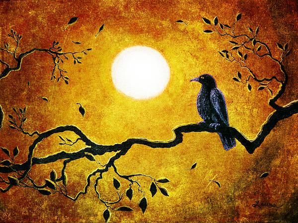 Crow Art Print featuring the digital art Raven In Golden Splendor by Laura Iverson