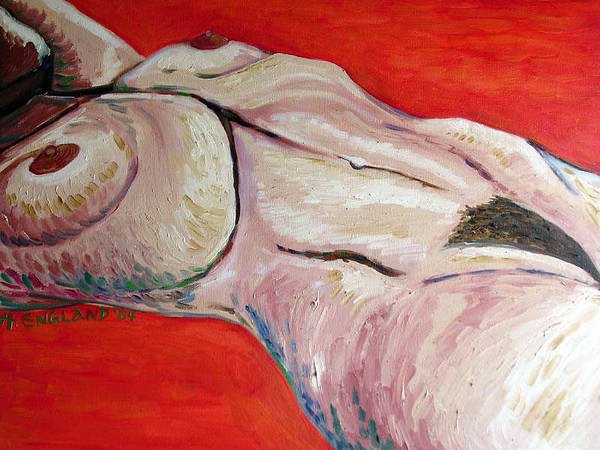 Nude Realism Expressionism Female Art Print featuring the painting Reclining Nude by Hilary England