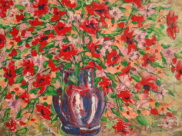 Flowers Art Print featuring the painting Red And Pink Poppies. by Leonard Holland