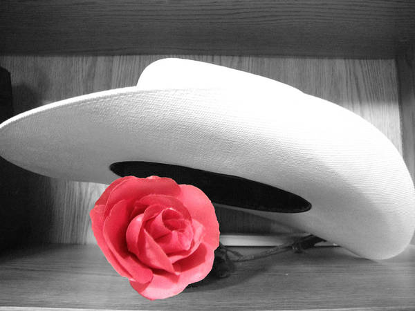 Hat Art Print featuring the photograph Red Black And White by Chuck Shafer