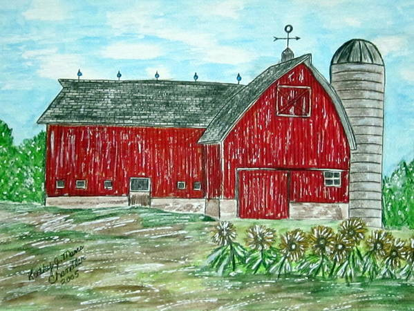 Red Art Print featuring the painting Red Country Barn by Kathy Marrs Chandler