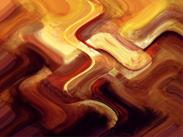 Digital Art Print featuring the painting Red Curve 2 by Vicky Brago-Mitchell