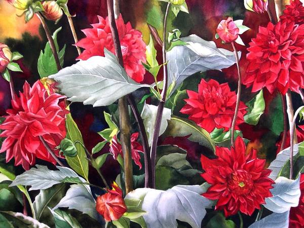 Flower Art Print featuring the painting Red Dahlias by Alfred Ng