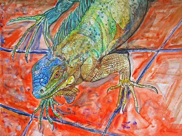 Iguana Art Print featuring the painting Red Eyed Iguana by Kelly   ZumBerge