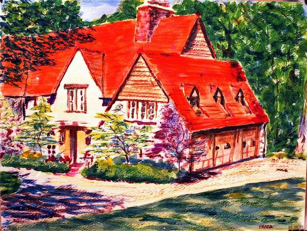 Watercolor Art Print featuring the painting Red House In Clayton by Horacio Prada