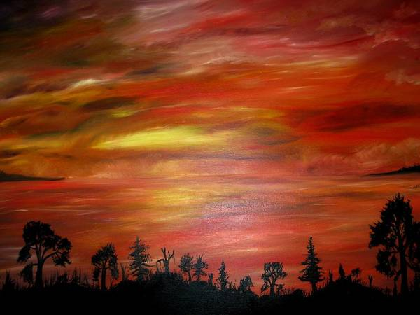 Art Print featuring the painting Red Sky Delight by Michael Schedgick