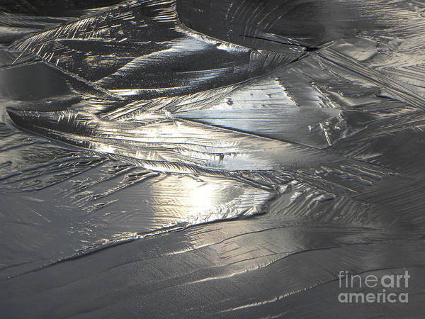 Abstract Landscape Art Print featuring the photograph Reflections In Dark Ice 3 by Belinda Sellari