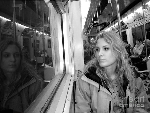 London Art Print featuring the photograph Reflections On A London Train by Madeline Ellis