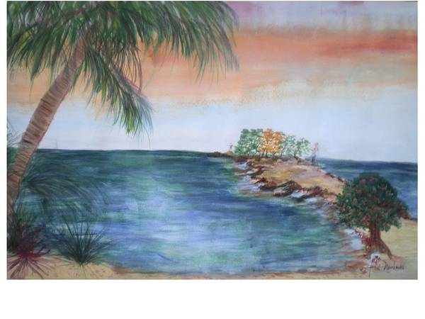 Seascape Of A Sunrise Art Print featuring the painting Resort The Keys by Hal Newhouser