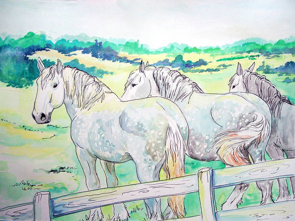 Horse Art Print featuring the painting Resting Giants by Jenn Cunningham