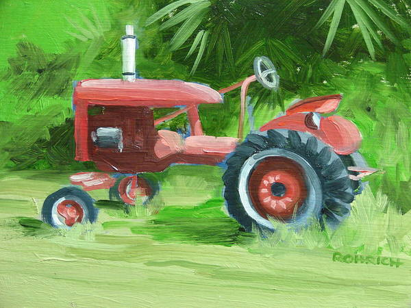 Tractor Farm Equipment Art Print featuring the painting Retired Farmall by Robert Rohrich