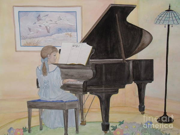 Piano Art Print featuring the painting Rhapsody In Blue by Patti Lennox