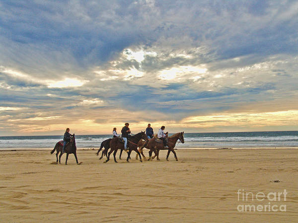 Seascape Art Print featuring the photograph Riding At The Beach by Jim Sweida