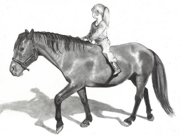 Equine Art Art Print featuring the drawing Riding Bareback by Joyce Geleynse