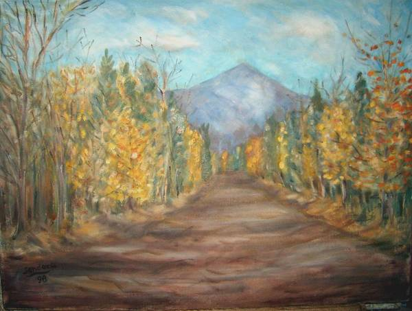 Landscape With Mountain Fall Trees Art Print featuring the painting Road To Mountain by Joseph Sandora Jr